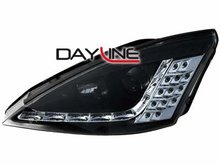 Faros delanteros luz diurna DAYLINE para Ford Focus 01-04 negro